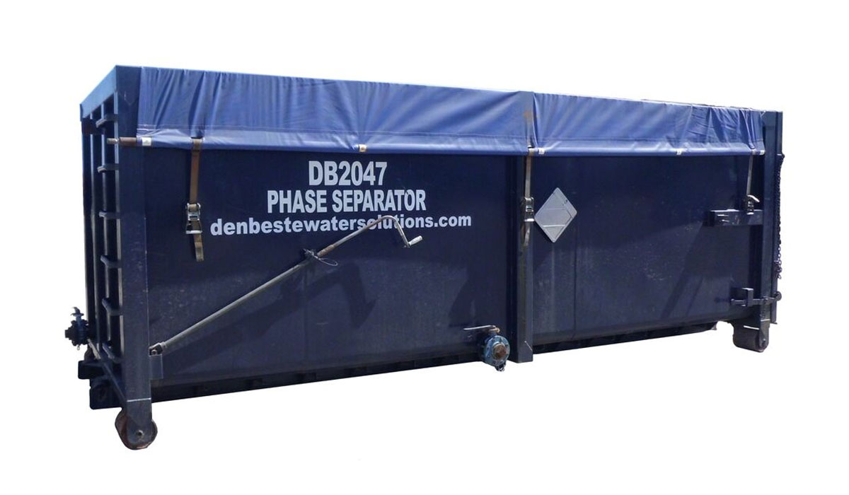 Phase separator with 38 cubic yard capacity.